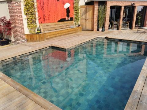 Rénovation d'une piscine carrelée entre Fiquefleur-Equainville et Honfleur
